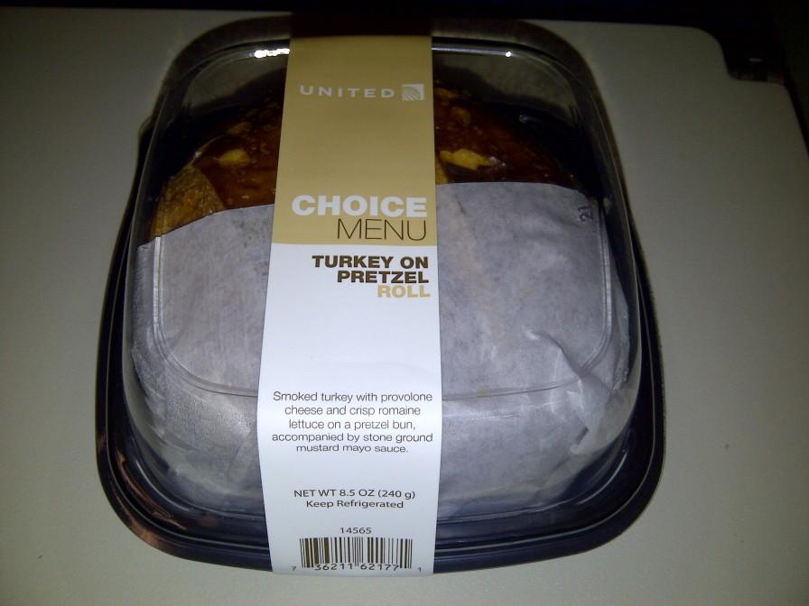 United Airlines @ Turkey Sandwich on a Pretzel Roll