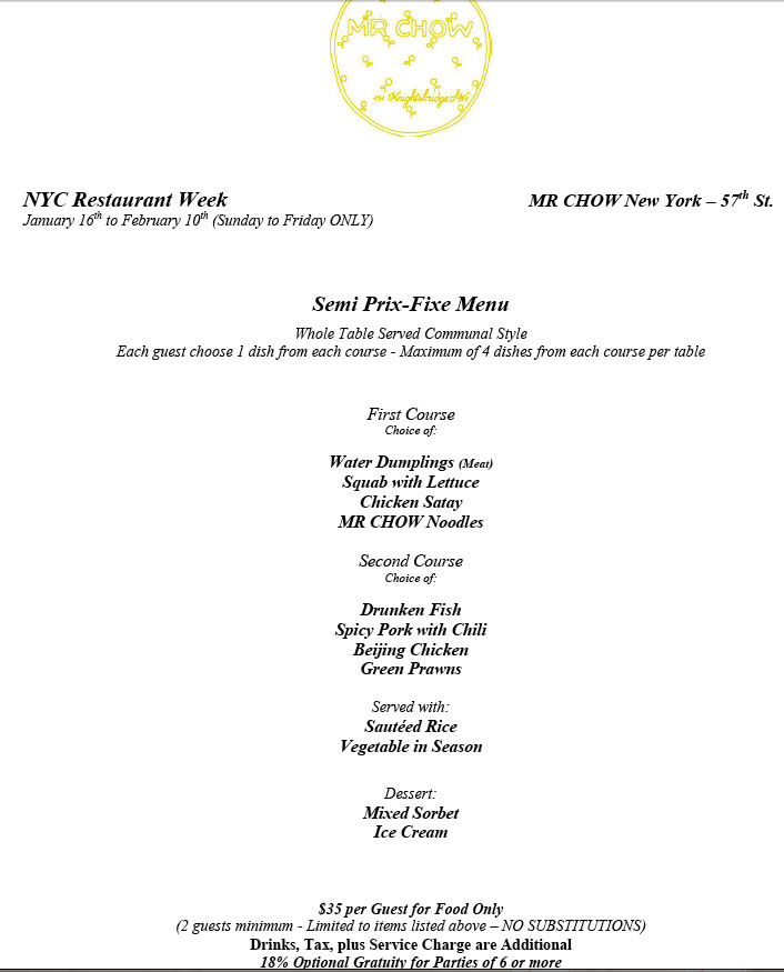 Mr Chow Restaurant Week Menu